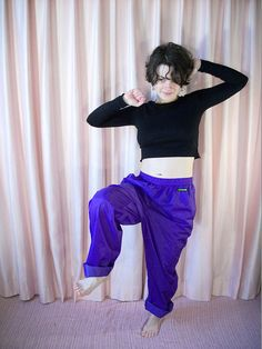 Shiny Purple Windbreaker Athletic Pants