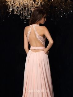 A-Line/Princess Halter Sleeveless Lace Sweep/Brush Train Chiffon Dresses - Long Prom Dresses - Prom Dresses - QueenaBelle.com