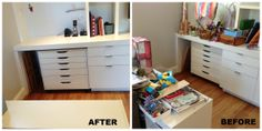Kids stuff can easily take over your home if you let it.  This art/project space in the living room needed some decluttering and purging.  The after is much more functional and welcoming.