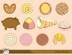 clip art and digital paper for all your creative needs by ElitaCatGraphics Mexican Snacks, Mexican Candy, Mexican Food Recipes, Mexican Crafts, Candy Drawing, Mexican Bread, Mexican Kitchens, Pan Dulce, Sketch Inspiration
