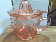 Pink Depression Glass Mixing And Measuring Cup With Reamer Juicer