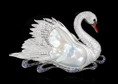 Brooch Swan - buy in Mousson Atelier - white gold, yellow gold, Baroque pearl, diamonds, multicolored sapphires, enamel