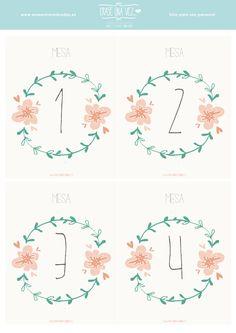 Imprimible: números de mesa #printable #wedding