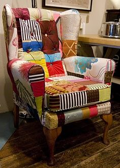 Check out these vintage chairs reupholstered with a colourful splash of patchwork fabric and trimmings.  The fabric is produced from the remnants of bolts of new fabric, thus saving waste.  The remnants are cut and hand-sewn together to create a bespoke design.  The chairs are midcentury and the fabric swatches limited,  so each is unique.