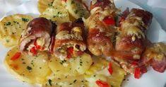 Hozzávalók:   Személyenként egy szelet ujjnyi vastagságúra vágott sertéskaraj  Vékonyra szeletelt bacon csík a tekercsek alá  10 dkg s... Potato Salad, Shrimp, Bacon, Food And Drink, Potatoes, Chicken, Ethnic Recipes, Potato, Pork Belly