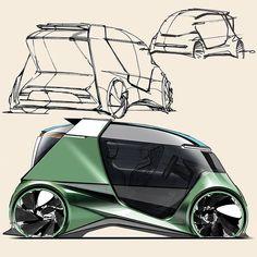 Car Design Sketch, Car Sketch, Futuristic Cars, Futuristic Design, Industrial Design Sketch, Car Drawings, Small Cars, Transportation Design, Future Car