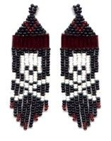 Skull Fringe Earring : Beading Patterns and kits by Dragon!, The art of beading. Skull Fringe Earring : Beading Patterns and kits by . Beaded Necklace Patterns, Seed Bead Patterns, Beading Patterns, Bracelet Patterns, Seed Bead Jewelry, Seed Bead Earrings, Jewelry Kits, Skull Earrings, Fringe Earrings