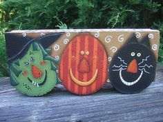 Painted Paver for Halloween 12004 Bewitched Pattern Oil Creek Originals by OilCreekOriginals Witch Pumpkin Black Cat Scarecrow Cement Pavers, Painted Pavers, Painted Rocks, Hand Painted, Brick Pavers, Concrete Edging, Concrete Blocks, Painted Wood, Painted Bricks Crafts
