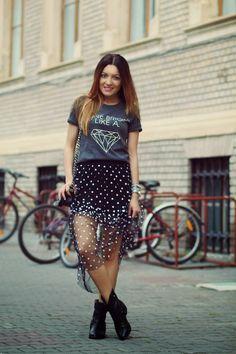 Gray Shine Bright Like  A Diamond Pattern T-shirt - Fashion Clothing, Latest Street Fashion At Abaday.com