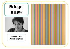Bridget Riley - Portrait d'artiste Bridget Riley, History For Kids, History Teachers, Kids Art Class, Art For Kids, Gene Davis, Art History Memes, Anthony Caro, Ecole Art