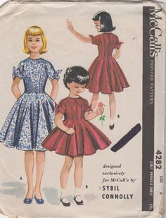 1950s McCalls 4282 Girls Princess Dress Pattern SYBIL CONNOLLY Childs Vintage Sewing Pattern by mbchills