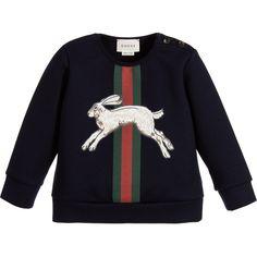 Gucci Baby Boys Navy Blue Hare Sweatshirt at Childrensalon.com
