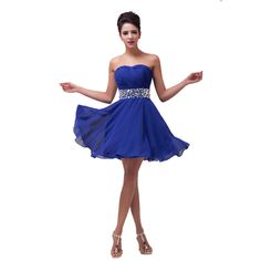 Free Shipping Grace Karin sexy Sweetheart Chiffon Prom Dresses Short  Evening Gown Evening Dress CL4792 Navy 9ab707cc90d0