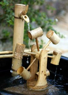 Bamboo Water Wheel, Fountain Accessory (8 Inch)
