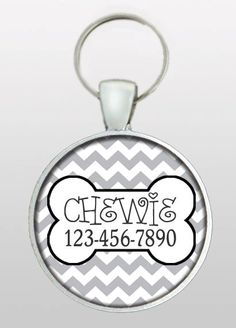 Pet ID Tag - Dog Name Tag - Medium Grey Chevron - Retro Dog Tag - Cat Tag - Dog Tags for Dogs - Pet Tag - Design No. 201 on Etsy, $8.95