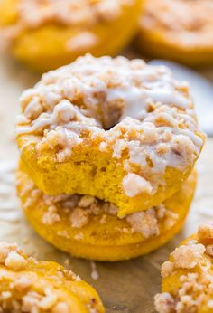 Pumpkin Coffee Cake Donuts are the ultimate Fall treat! Baked, not fried, and ready in less than 30 minutes.