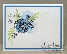 Stampin' Up! What I lLove stamp set. Clean and simple floral card. Handmade card by Lisa Young, Add Ink and Stamp