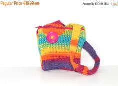 Items similar to Handbag / Purse for Girls. Multicoloured with Pink Button and Zip. Handmade / Hand Knitted on Etsy Unusual Gifts, Handbags On Sale, Hand Knitting, Celtic, Little Girls, Handmade Items, Weaving, Etsy Shop, Purses