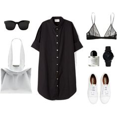 Shirt dress by grace-mxo on Polyvore featuring Acne Studios, Yves Saint Laurent, Jil Sander, Larsson & Jennings, STELLA McCARTNEY and Byredo - womens athletic clothing, clothing womens online, womens sports clothing