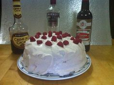 Creme De Cacao French Vanilla cake with a Raspberry Vodka fresh raspberry reduction filling. Frosted with a Cream Sherrie Fresh Raspberry whipped cream.    https://m.facebook.com/story.php?story_fbid=781538131879898&substory_index=0&id=141555469211504