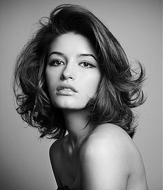 Brunette Medium Hair Style --- blow waved long bob; super sexy & flattering | Short Hair | Shoulder Length Hair