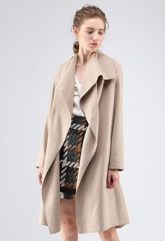 8dc4dd043800 Free Myself Open Front Wool-Blend Coat in Sand