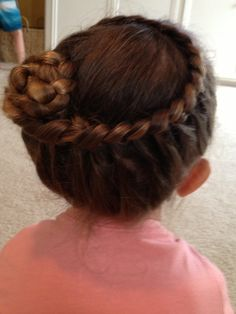 Cute braid into a bun for little girls hair!