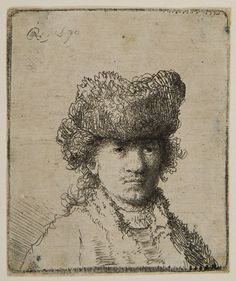 Rembrandt van Rijn – Rembrandt with a Fur Cap and Light Dress, 1630, Etching | Harvard Art Museums