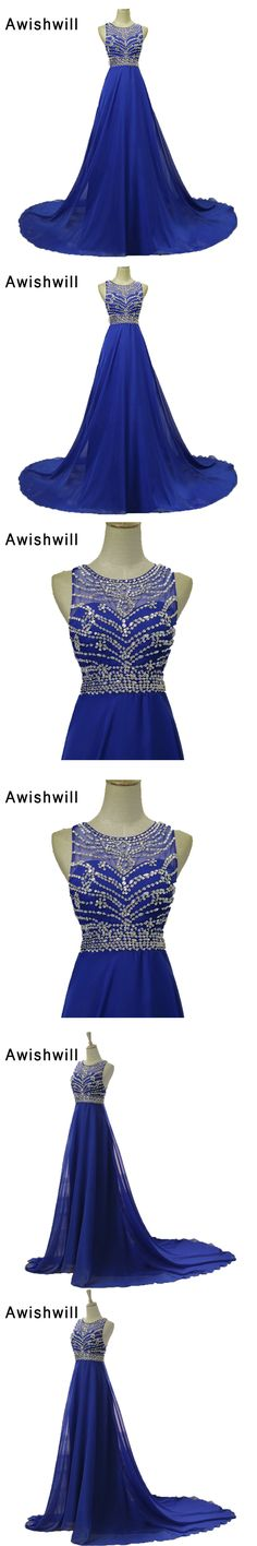 Real Photos Vestido De Festa Sleeveless O-neck Beadings Chiffon African Prom Dresses Party Gown Long Royal Blue Evening Dresses