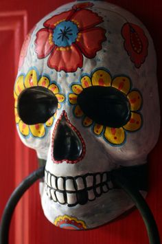 Sugar Skull Day of the Dead doorknocker hand painted by dalaimomma, $22.00
