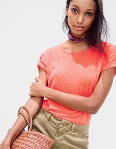 What we do at J.Crew: women's linen T-shirt in neon papaya.