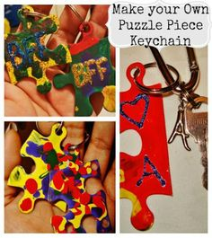 puzzle piece crafts, making keychain gifts, summer keepsakes