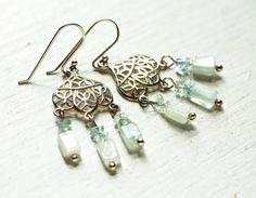 Aquamarine Chandelier Earrings - Sage Green Tribal Boho Jewelry Aqua Gift For Her on Etsy, $34.00