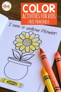 Floral printable book: Color emerging reader for spring, Preschool Lesson Plans, Preschool Learning, Early Learning, Preschool Ideas, Mother's Day Activities, Color Activities, Toddler Activities, Floral Printables, Free Printables
