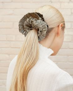 Shelby Gold Ruffle Edge Scrunchie Lame Fabric, Gold Hair Accessories, Cotton Lace, Hair Dos, Scrunchies, Hair Hacks, Hair Inspiration, Your Hair, Cool Hairstyles