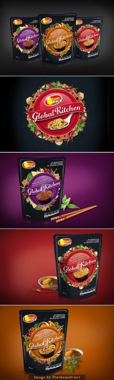 Global Kitchen, Creative Agency: Boxer & Co… Rice Packaging, Bread Packaging, Food Packaging Design, Beverage Packaging, Coffee Packaging, Bottle Packaging, Packaging Design Inspiration, Product Packaging, Label Design