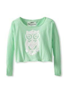 53% OFF Mini Fashionista Girl's Lace Owl Dolman Tee (Atlantis)