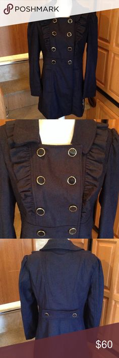 Say What Navy Blue Ruffle Peacoat Juniors XL NWT New with tags! Bought last year and it does not fit this year. I do NOT trade. Say What? Jackets & Coats Pea Coats
