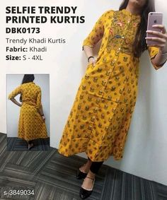 Price Shipping free, cod availble WhatsApp Quarter Sleeve Front Buttoned Khadi Kurti Fabric: Kurti – Khadi Sleeves: Sleeves Are Included Size (Bust): (Refer Size Chart) Type: Stitched Description: It Has 1 Piece Of Kurti Work: Printed Salwar Designs, Kurti Neck Designs, Kurti Designs Party Wear, Saree Blouse Designs, Dress Designs, Special Dresses, Plus Dresses, Kurti Patterns, Dress Patterns