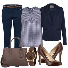 ElegantLady Outfit - Business Outfits at FrauenOutfits.de - Great and elegant business look made of a blue chinos, a sleeveless blouse and brown pumps … - Summer Business Attire, Business Casual Outfits For Women, Classy Work Outfits, Summer Work Outfits, Preppy Outfits, Mode Outfits, Business Outfits, Business Fashion, Chic Outfits
