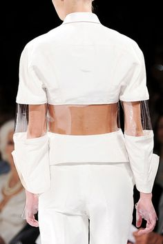 Transparency - white jacket with transparent plastic panels - structured silhouette; fashion details