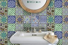 Moroccan Tile/wall decal : Kitchen/ Bathroom/ stair door Bleucoin
