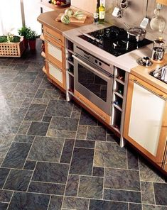 kitchen flooring idea : ea29 european slate with mp38 meteor