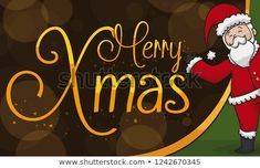 Happy Santa Claus presenting a Christmas sign, celebrating this magic event in a glowing night. Christmas Signs, Merry Christmas, Holy Family, Christmas Illustration, Presents, Santa, Magic, Night, Happy