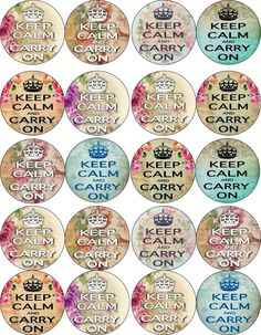 """Keep Calm and Carry on Round Circle Bottle Cap Stickers 63 1"""" 24 1 5"""" 20 2"""" 