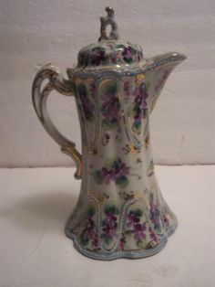 Nippon Chocolate Tea Coffee Pot Fluted Bead Moriage Purple Violets Victorian