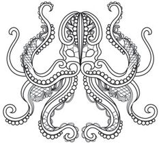 The intricate lines and lacy details of these whimsical ocean life designs look stunning on apparel, Coloring Book Art, Colouring Pages, Adult Coloring Pages, Coloring Sheets, Octopus Design, Urban Threads, Wood Burning Patterns, Clipart Design, Quilling Patterns