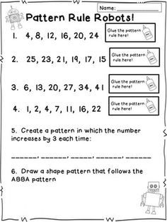math worksheet : follow the rules number patterns  number patterns the rules and  : Grade 4 Math Patterns Worksheets