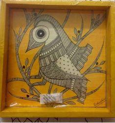 Madhubani Art, Madhubani Painting, Tribal Art, Bird Art, Trays, Folk Art, Art Drawings, Coasters, Pencil