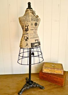 Triana- foam and cloth adjustable height mannequin form with wire skirt and vintage style metal base - great for shop display, home decor on Etsy, $69.90